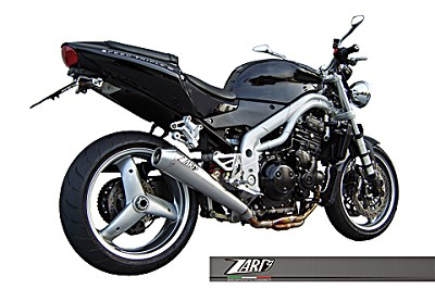 ZARD exhaust for Triumph Speed Triple, model 2002 til 2004, inox, slip on, E-marked.