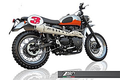 ZARD complete exhaust system for Triumph Scrambler,  model 2008 til 2009, models with fuel i