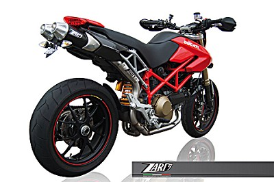 ZARD TOP GUN exhaust for Ducati Hypermotard 796/1100, Inox-Carbon, slip on, E-marked.