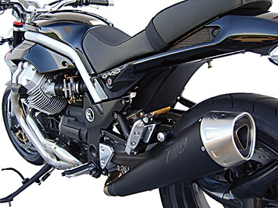 ZARD exhaust for Moto Guzzi Griso with 2 and 4 valves, Inox Black, slip on, E-marked.