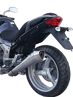 ZARD exhaust for Moto Guzzi Breva V 1200, Inox, slip on, E-marked, incl. catalyst.
